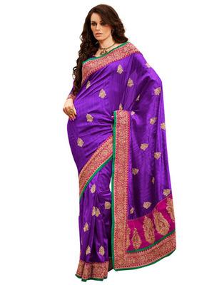 Violet Colored Bhagalpuri Cotton Saree