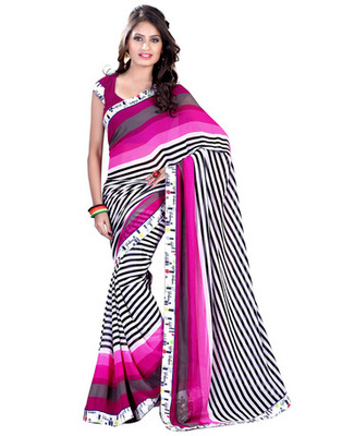 White Colored Georgette Saree