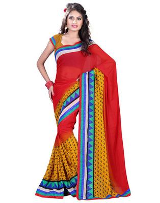 Red  Colored Chiffon Saree