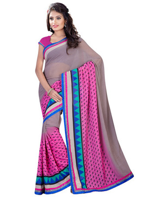 Grey  Colored Chiffon Saree