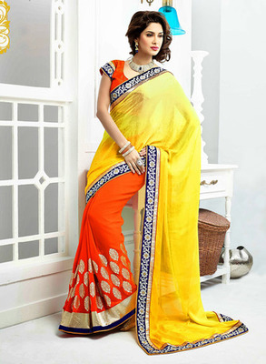 Yellow & Orange Color with Embroidery, Lace Work Saree