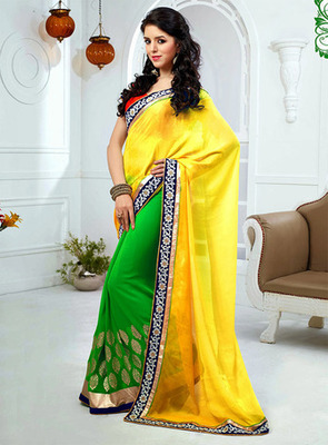 Yellow & Green Color with Embroidery, Lace Work Saree