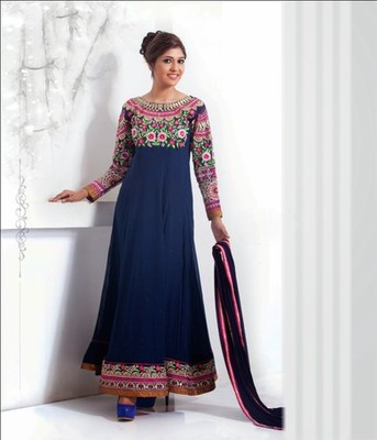 Navy Blue Color with Embrodery & Stone Work Dress Material