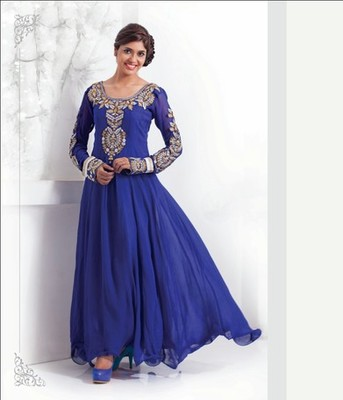 Color with Embrodery & Stone Work Dress Material