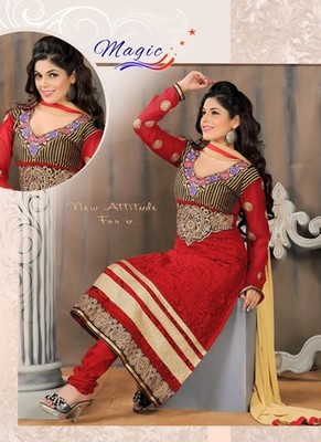 Red Color Net Brasso with Embroidery Dress Material
