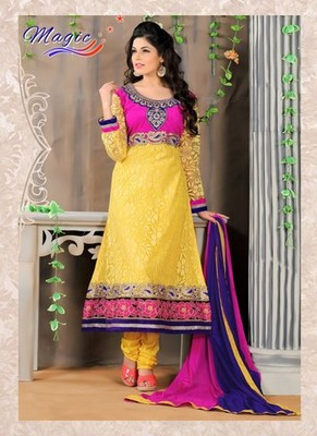 Yellow & Pink Color Net Brasso with Embroidery Dress Material