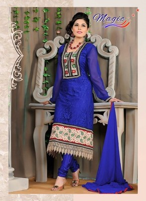 Blue Color Net Brasso with Embroidery Dress Material