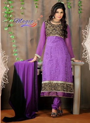 Purple & Black Color Net Brasso with Embroidery Dress Material