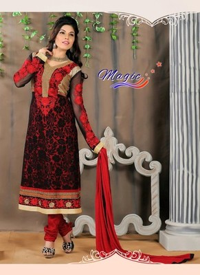 Red & Black Color Net Brasso with Embroidery Dress Material