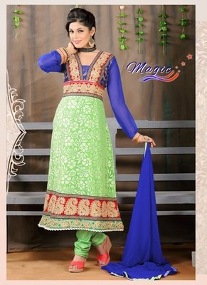 Blue & Green Color Net Brasso with Embroidery Dress Material