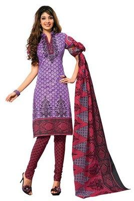 Beautiful  Purple Colour Cotton Printed Salwar Kameez