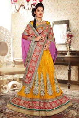 Attractive Yellow Colour Net and Brasso Lehenga Choli