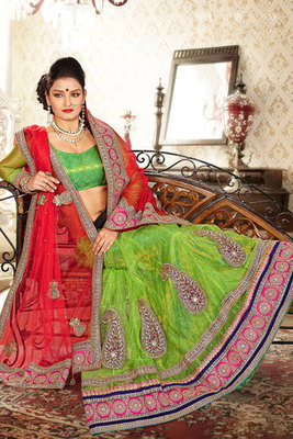 Green Net Lehenga Choli Showing Resham Zari and Diomand work