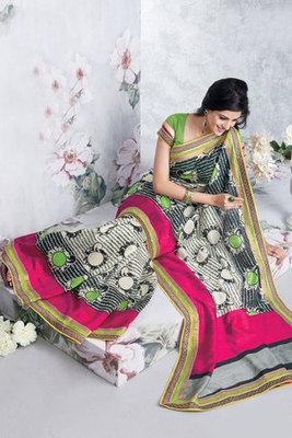 Cream and Black Saree Made Of Art Silk Fabric