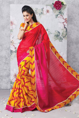 Gorgeous Red and Yellow Art Silk Saree with Patch Work
