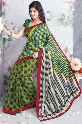 This a Green Art Silk Saree Decked with Patch-patti work