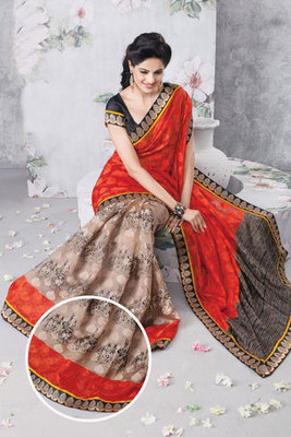 This a Chikoo and Maroon Colour Art Silk Saree Designed With Patch-patti Work