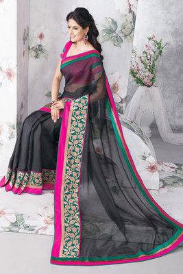 Wonderful Patch-patti Work Black Art Silk Saree