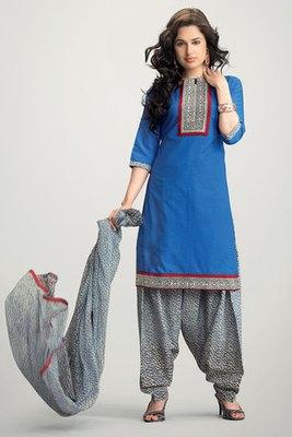 Blue Cotton Salwar Kameez With Chiffon Dupatta