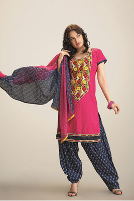 Pink Cotton Salwar Suit Decked with Embroidery Work