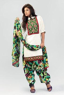 White Cotton Salwar Suit With Chiffon Dupatta