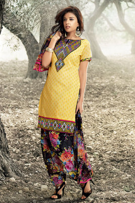 Yellow Colour Cotton Salwar Suit With Black Chiffon Dupatta