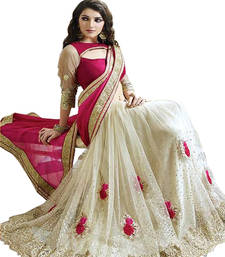 Buy pink embroidered net saree With Blouse bollywood-saree online