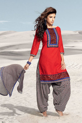 Red and Black Cotton Salwar Kameez with Chiffon Dupatta