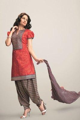 Red Cotton Salwar Suit With Chiffon Dupatta