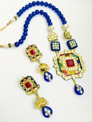 Blue Navratan Beads Necklace