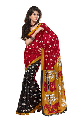 Fabdeal Red & Black Colored Chappa Silk Printed Saree