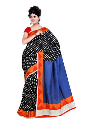 Fabdeal Black & Red Colored Raw Silk Printed Saree