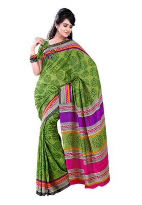 Fabdeal Green & Green Colored Raw Silk Printed Saree
