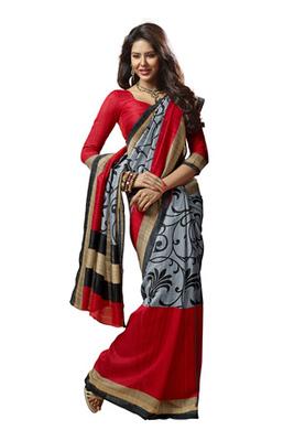 Fabdeal Grey & Red Colored Chappa Silk Printed Saree