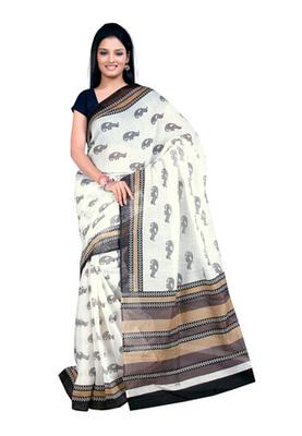 Fabdeal White Colored Linen Silk Printed Saree