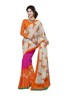 Fabdeal Cream & Orange Colored Linen Silk Printed Saree