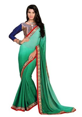 green embroidered faux jacquard saree with blouse