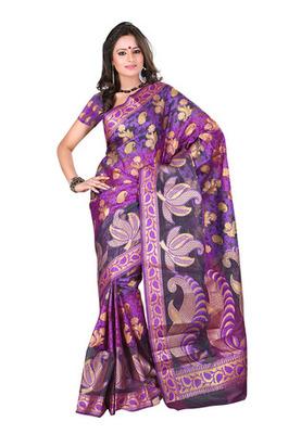 Fabdeal Dark Purple Colored Banarasi Cotton Printed Saree
