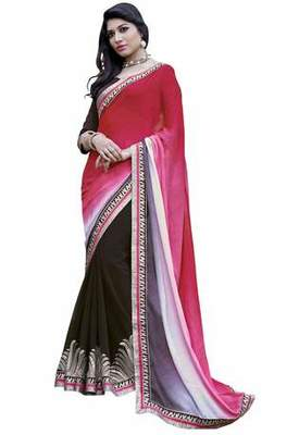 multicolor embroidered faux jacquard saree with blouse