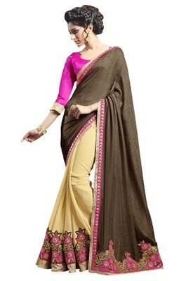 multicolor embroidered faux georgette saree with blouse