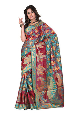 Fabdeal Blue  Colored Banarasi Cotton Printed Saree