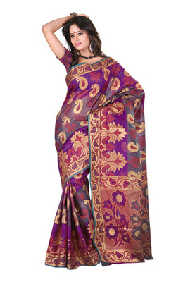 Fabdeal Teal Colored Banarasi Cotton Printed Saree