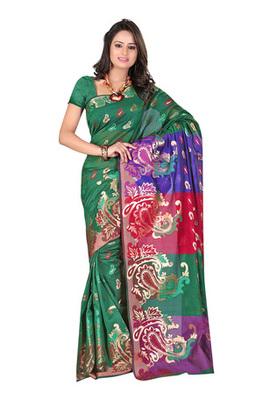 Fabdeal Green Colored Banarasi Cotton Printed Saree