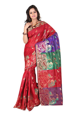 Fabdeal Red Colored Banarasi Cotton Printed Saree