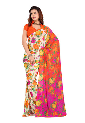 Fabdeal Orange Colored Faux Georgette  Printed Saree