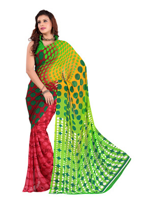Fabdeal Green Colored Faux Georgette  Printed Saree