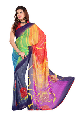 Fabdeal Multi Colored Faux Georgette  Printed Saree