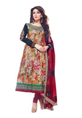CottonBazaar Multi Colored Pure Cotton Semi-Stitched Salwar Kameez