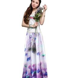 Buy White and purple printed faux georgette skirts maxi-skirt online