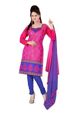 Fabdeal Pink Colored Banaras iSilk Un-Stitched Salwar Kameez